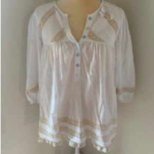 Free People Shirt ¾ Sleeve Lace White Size Small